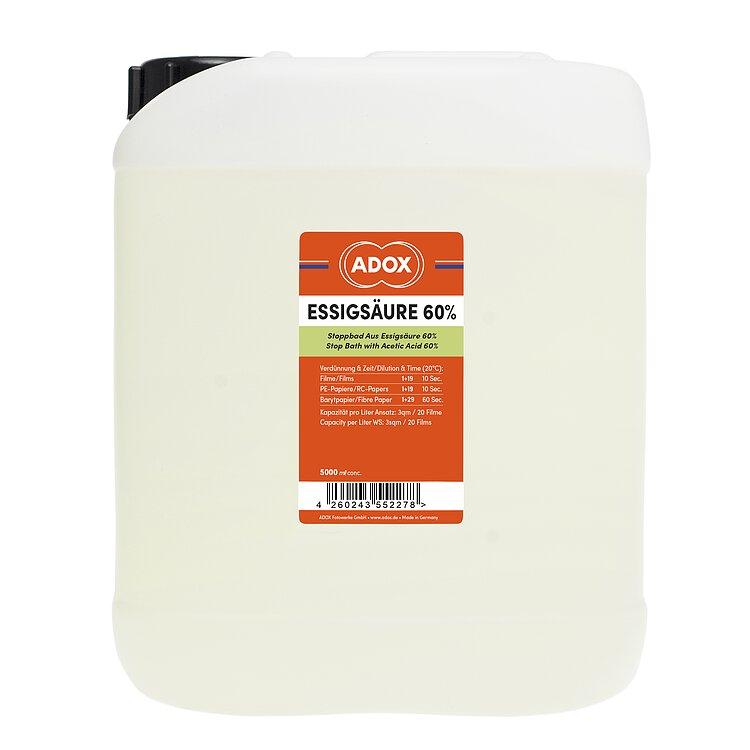 adox essigs ure 60 ig 5000 ml konzentrat fotochemie analoge fotografie. Black Bedroom Furniture Sets. Home Design Ideas