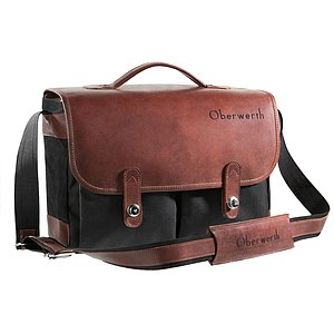 OBERWERTH München Cordura Leather Black-Brown ( Camera Bag 100% Made In Germany)