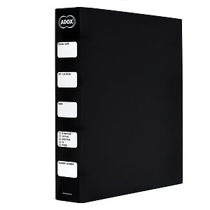ADOX Adofile Archival Ring Binder, black Plastic With Ring Closure