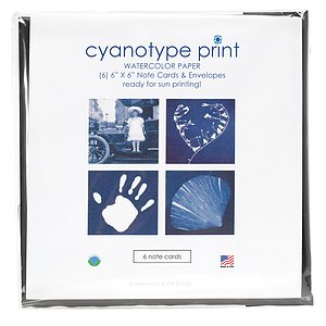 FOTOIMPEX Blue Sunprints Cyanotype Sensitized 6x6 Inch Notecard Kit - Pack Of 6 Cards With Envelopes