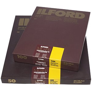 ILFORD Multigrade FB Warmtone 24K - Halbmatt (Baryt) - 50x60 / 10 Blatt - Gradation: variabel