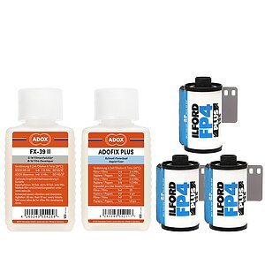 Bundle out of 3 X ILFORD FP4+ 125 ASA 135/36 + ADOX FX-39 100ml Concentrate + ADOX BABY ADOFIX Plus 100 ml Concentrate
