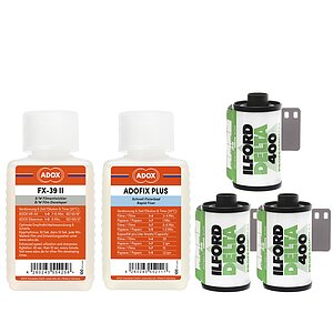 Bundle out of 3 X ILFORD Delta 400 135/36 + ADOX FX-39 100ml Concentrate + ADOX BABY ADOFIX Plus 100 ml Concentrate