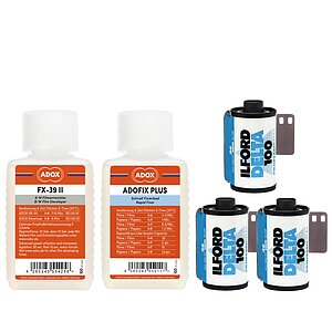 Bundle out of 3 X ILFORD Delta 100 135/36 + ADOX FX-39 100ml Concentrate + ADOX BABY ADOFIX Plus 100 ml Concentrate