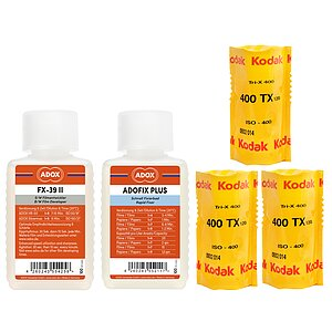 Bundle out of 3 X KODAK Tri-X 400 120 Medium Format Film  + ADOX FX-39 100ml Concentrate + ADOX BABY ADOFIX Plus 100 ml Concentrate